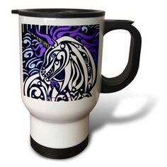 3dRose Cloud Runner Unicorn Tribal Fantasy, Travel Mug, 14oz, Stainless Steel