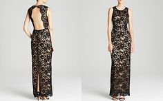 Laundry by Shelli Segal Gown - Sleeveless Lace Illusion Open Back