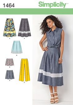 Sew a summer skirt, shorts and wide leg pants with Simplicity pattern 1464. The longer length skirt has a sheer or lace panel, while the shorter length has a trim border.