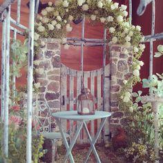#miniature#rosegarden##rose#preservedflower#ミニチュア#ガーデン#ローズガーデン#薔薇#プリザーブドフラワー  なんちゃって薔薇のアーチ(* ̄∇ ̄*)プリザの、モーニングイエローっていう色のかすみ草を使いました。ちゅてき!