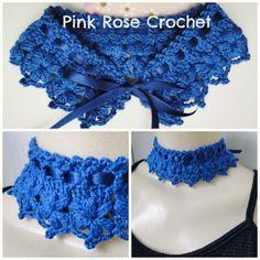 PINK ROSE CROCHET: Gola Colar Jasmine Azul Royal