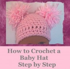 I just love to Crochet Baby hats and I wanted to share this step-by-step crochet pattern with you. Out of everything I crochet, newborn hats are the most popular and I get asked for them regularly. Of course, the cuteness factor can never be. Crochet Baby Bonnet, Crochet Baby Hat Patterns, Crochet Baby Booties, Hat Crochet, Crochet Stitches, Crochet Teddy, Baby Patterns, Crochet Hat For Beginners, Crochet For Kids