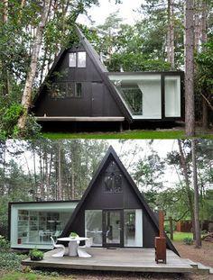 modern modular triangle peak roof home , love