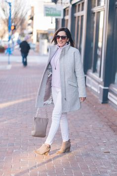 Winter Outfit Inspo: White Jeans Outfit with Lavender   Fashion Over 40   Jo-Lynne Shane #winterfashion #fashionover40