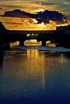 Ponte Vecchio sunset  Florence Italy