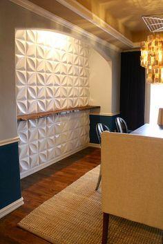 3-D wall panels and live edge wood shelf