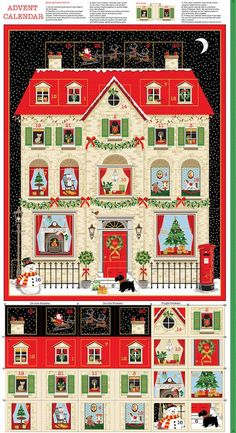 Deck the Halls: House Advent Calendar Panel Make An Advent Calendar, Calendar Home, Advent Calendars, Christmas Fabric Crafts, Crafts For Kids, Diy Crafts, Paper Crafts, Halloween Fabric, Fabric Gifts