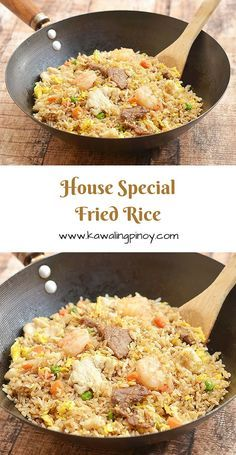 House special fried rice is a popular rice dish consisting of generous portions of shrimps beef and chicken along with the customary scrambled eggs and vegetables; learn the simple technique which turns this hearty one pot meal from good to ultra special! Chinese Cooking Wine, Asian Cooking, Chinese Food, Korean Food, Fried Rice With Egg, Beef Fried Rice, Shrimp Fried Rice, Fried Rice With Chicken, Fried Rice Recipes