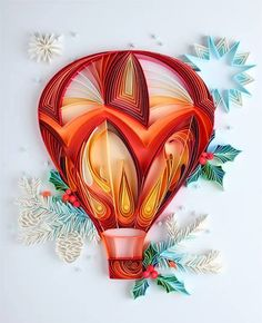 Hot-air balloon; quilling; paper art by Yulia Brodskaya  https://fbcdn-sphotos-e-a.akamaihd.net/hphotos-ak-xaf1/t1.0-9/10401373_680843961997182_1583469361333828809_n.jpg