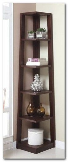 Walnut Finish Wood Wall Corner 5 Tiers Shelves Bookshelf Case ~ Corner Shelves ~ Olivia Decor - decor for your home and office. Wood Furniture, Furniture Design, Office Furniture, Furniture Ideas, Corner Bookshelves, Bookshelf Ideas, Corner Shelves Living Room, Corner Wall Decor, Room Corner