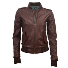 Brown bomber jacket.