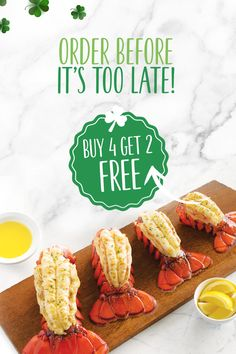 Order the best seafood feast St. Patrick's Day has ever seen! ☘️ Buy 4 Maine Lobsters Tails and get 2 for FREE. Click the link below to order yours today. Lobster Gram, Lobster Pot Pies, Colossal Shrimp, Frozen Lobster Tails, Shrimp Cocktail Sauce, Maryland Style Crab Cakes, Alaskan King Crab, Filet Mignon Steak, Best Crabs