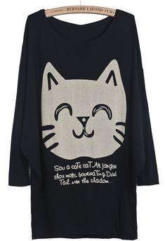 Black Batwing Long Sleeve Cat Print Loose T-Shirt EUR€10.77