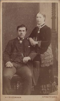 CDV photo of a Victorian Couple taken in Stratford, London around 1880s by Henry Friedmann at his studio located at 126 The Grove.