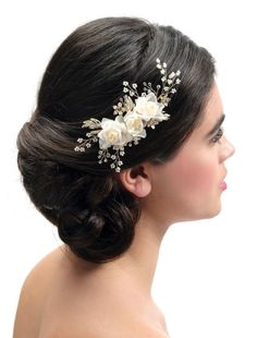 Haarcorsage BB-441 Poirier | Bruidsaccessoires - Honeymoonshop Bridal Hair, Crown, Corsages, Hair Styles, Accessories, Jewelry, Dress, Wedding, Fashion