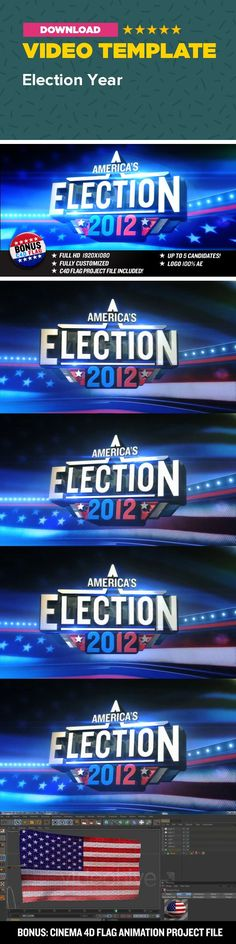 3d logo, cinema 4d, decision 2012, democracy, election 2012, election graphics, election opener, flag, goverment, national, opener, president, senate, usa, white house WATCH THIS IN HD Highly creative and unique Opener/Promo/Show Opener for your Election Broadcast. This project trendy looks and soundtrack may also fit for other purposes such as: talkshow opener and promo, internet show, sports opener and many more. Creative 3D animation that would work great to advertize/present/describe…
