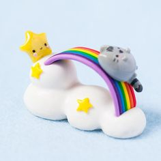 One of A Kind Handmade Polymer Clay Pusheen Inspired Rainbow