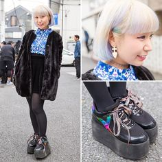 Artist @Nanarimooo on the street in Harajuku with a pastel bob hairstyle, a Sly faux fur coat over a Fig&Viper top, F21 skirt, and YRU platform shoes.