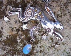 Large leaping Hare with opal
