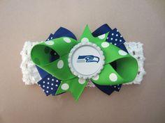 Seattle Seahawks Hair Bow on Headband Baby NFL*FREE SHIPPING**