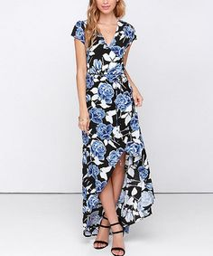 $49.99 Loving this Blue Floral Surplice Hi-Low Maxi Dress on #zulily! #zulilyfinds