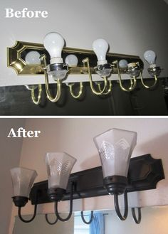 How to change brass and chrome light fixtures to oil rubbed bronze. Plus tips fo. How to change brass and chrome light fixtures to oil rubbed bronze. Plus tips for perfect spray-pai Cheap Light Fixtures, Painting Light Fixtures, Bathroom Light Fixtures, Shower Fixtures, Kitchen Fixtures, D House, Creation Deco, My Living Room, Rv Living