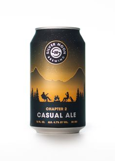 Silver Moon Brewing craft beer can design. Chapter 2 Casual Ale packaging. #blindtiger