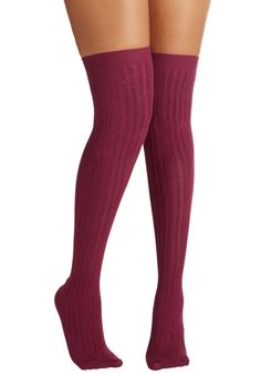 Basically Amazing Socks in Wine. The perfect accompaniment to all your tall boots, patterned tights, and vintage shifts, these softly ribbed, burgundy over-the-knee socks are bound to become your new go-to pair. #red #modcloth