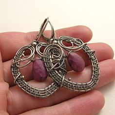 Silver wire wrapped earrings with ruby  by MadeBySunflower on Etsy, $95.00