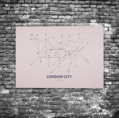 London City C8 - Acrylic Glass Art Subway Maps (Acrylglas, Tube, Underground)