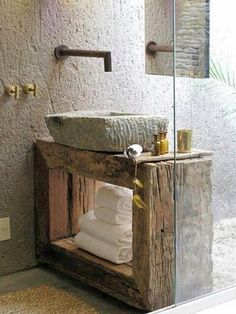 10 Lovely Bathroom with Some Rustic Decor Inspiration- 10 Lovely Bathroom with Some Rustic Decor Inspiration Kenoa Resort : A Private Sanctuary of Tranquility, Brazil – Wabi Sabi bathroom with stone sink, rough wood vanity, and industrial hardware - Bad Inspiration, Bathroom Inspiration, Bathroom Ideas, Bathroom Sinks, Natural Bathroom, Bathroom Designs, Stone Bathroom, Earthy Bathroom, Narrow Bathroom