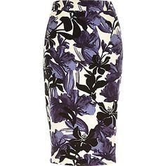 Purple floral print woven pencil skirt $70.00