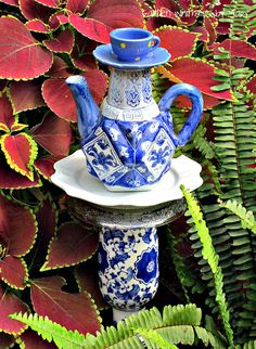 Blue and White Teapot Garden Totem Stake  by GardenWhimsiesByMary, $35.00