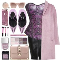 Purple Rain by atomic-jane on Polyvore featuring moda, Great Plains, Valentino, STELLA McCARTNEY, Furla, NARS Cosmetics, Estée Lauder, Nails Inc., Pink and purple