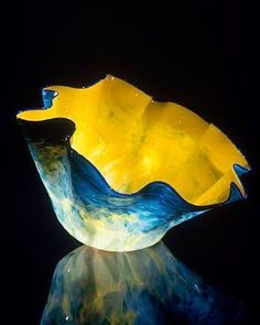 Ultramarine Blue and Yellow Macchia Bowl ~ by Dale Chihuly - blown glass - art
