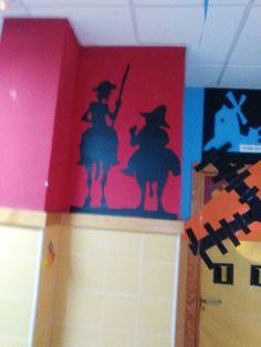 Desde el proyecto de biblioteca se han impulsado varias actividades relacionadas con el Quijote. Aquí os presentamos la decoración d de puer... Classroom Bulletin Boards, Classroom Decor, Windmill, Table Lamp, Spanish Class, Pablo Picasso, Birthday, Artist, Home Decor