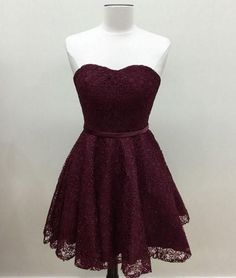 Cute burgundy lace prom dress, homecoming dress, short prom dress for teens