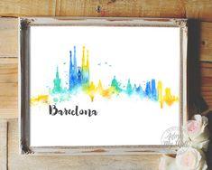 Barcelona, cityscape, watercolor, Barcelona skyline, skyline, Spain, abstract, architecture, wall art urban barcelona poster barcelona print