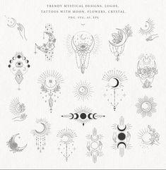 Kritzelei Tattoo, Tattoo Mond, Tattoo Drawings, Hand Tattoos, Small Tattoos, Moon Tattoos, Luna Tattoo, Tatoos, Sternum Tattoo Lotus
