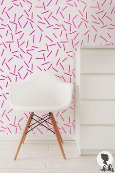 Neón rosa patrón papel tapiz removible L071 por LivettesKIDS