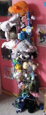 Old CD Jewel Case Tower Rack - re-purposed into a STUFFED TOY RACK
