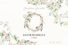 snowberries white and pink Snowberries clip art. Christmas clipart by KoelschArtLab on Etsy Christmas Wreath Clipart, Christmas Wreaths, Watercolor Clipart, Watercolor Christmas Cards, Wedding Hands, Meadow Flowers, Christmas Illustration, Beautiful Artwork, Clip Art