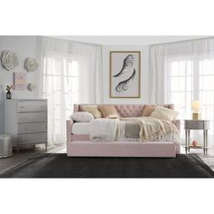 Little Seeds Monarch Hill Ambrosia Upholstered Daybed with Trundle, Pink Trundle Mattress, Twin Daybed With Trundle, Girls Daybed, Trundle Beds, Loft Beds, George Nelson, Cheap Mattress, Upholstered Daybed, Tufted Bed