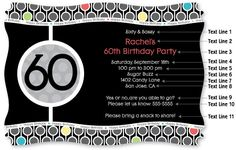 Adult 60th Birthday - Personalized Birthday Party Invitations With Squiggle Shape
