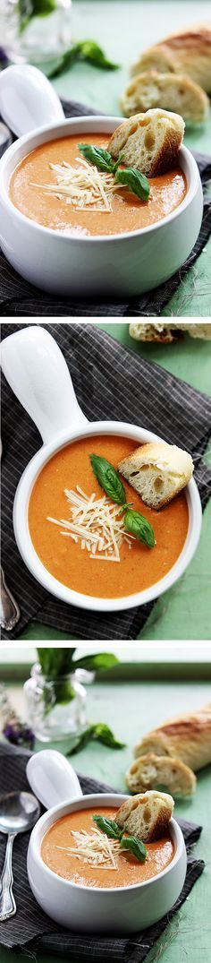 Creamy and rich tomato basil and cheesy parmesan soup made in the crockpot! I love creamy tomato soup! Crock Pot Soup, Slow Cooker Soup, Crock Pot Cooking, Slow Cooker Recipes, Crockpot Recipes, Soup Recipes, Vegetarian Recipes, Dinner Recipes, Cooking Recipes