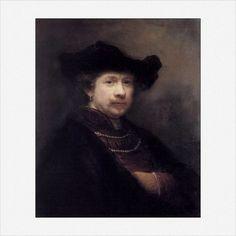 Rembrandt Harmenszoon van Rijn · Autoritratto con cappello piatto · 1642 · Castello di Windsor · Regno Unito