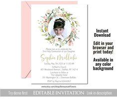 Photo First Communion Invitations, Girls Holy Communion Invites, Announce It!