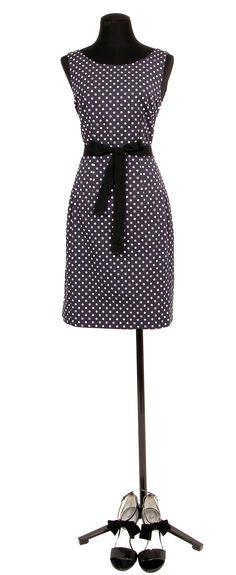 1.2.3 Paris - Robe Paola 129€ Chaussures Safir 129€ #ottoman #marine #bleu #pois #robe #bleu #noeud #mode #ete #123