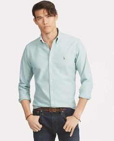 Shop our luxury Slim Fit Oxford Shirt at the official Ralph Lauren UK store online for the best in design, style & quality. Ralph Lauren Uk, Ralph Lauren Slim Fit, Best Casual Shirts, Cool Shirts, Classy Casual, Men Casual, Men's Wardrobe, Wardrobe Ideas, Menswear