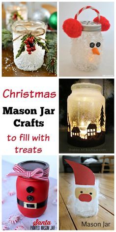 So many great mason jar craft ideas for Christmas. I love that the idea of putting treats into them and giving these out as gifts.
